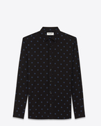 SAINT LAURENT Camicie Casual U Camicia Signature con collo YVES nera e blu denim in viscosa con stampa Polka Dot f
