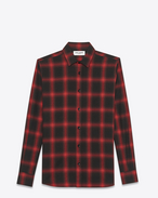 SAINT LAURENT Casual Shirts U signature yves collar shirt in black and red plaid cotton and tencel f