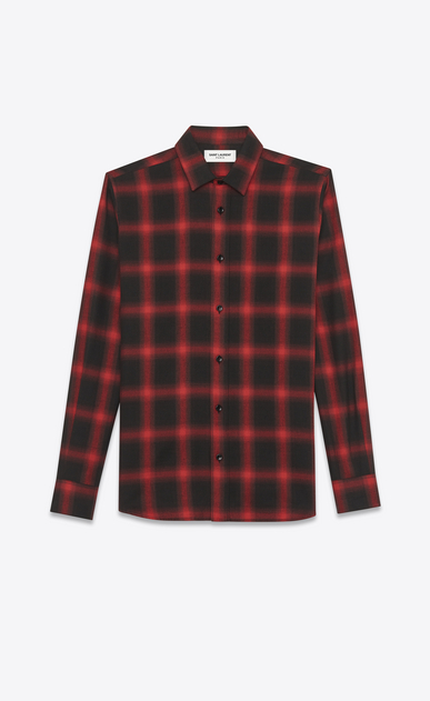 SAINT LAURENT Casual Shirts U signature yves collar shirt in black and red plaid cotton and tencel v4