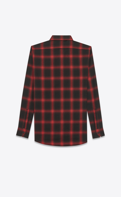 SAINT LAURENT Casual Shirts U signature yves collar shirt in black and red plaid cotton and tencel b_V4