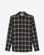 signature yves collar shirt in black and grey plaid cotton and tencel