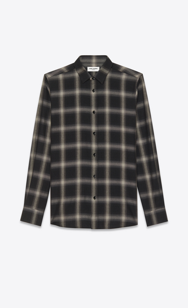 SAINT LAURENT Denim shirts U signature yves collar shirt in black and grey plaid cotton and tencel v4