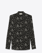 SAINT LAURENT Camicie Casual U camicia signature con collo dylan nera e bianca in viscosa con stampa star f