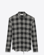 SAINT LAURENT Casual Shirts U Signature Oversized YVES Collar Shirt in Black and White Plaid Cotton  f