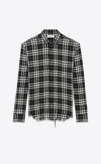 SAINT LAURENT Casual Shirts U Signature Oversized YVES Collar Shirt in Black and White Plaid Cotton  a_V4