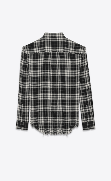 SAINT LAURENT Casual Shirts U Signature Oversized YVES Collar Shirt in Black and White Plaid Cotton  b_V4