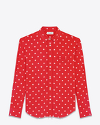 SAINT LAURENT Casual Shirts U Signature Oversized YVES Collar Shirt in Red and White Polka Dot Printed Viscose f