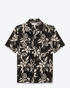 SAINT LAURENT Casual Shirts U Classic Hawaiian Shirt in Black and Ivory Hawaiian Hibiscus Printed Viscose and Cotton f