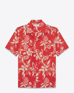 SAINT LAURENT Casual Shirts U Classic Hawaiian Shirt in Red and Ivory Hawaiian Hibiscus Printed Viscose and Cotton f
