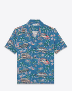 SAINT LAURENT Camicie Casual U Camicia Classic Hawaiian multicolore in viscosa con stampa Hawaiian Palm f