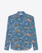 SAINT LAURENT Camicie Casual U camicia signature oversized con collo yves oversized multicolore in viscosa con stampa hawaiian palm f