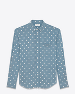 SAINT LAURENT Camicie Casual U Camicia oversized Signature con collo YVES blu e bianca in viscosa con stampa Polka Dot f