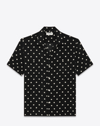 SAINT LAURENT Casual Shirts U Classic Hawaiian Shirt in Black and White Polka Dot Printed Viscose f