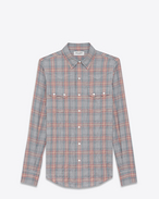 SAINT LAURENT Western Shirts U YSL Nashville Shirt in Raw Grey, Red and Blue Herringbone Plaid Cotton and Tencel f