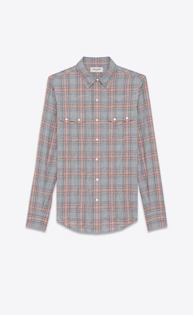 SAINT LAURENT Western Shirts U YSL Nashville Shirt in Raw Grey, Red and Blue Herringbone Plaid Cotton and Tencel a_V4