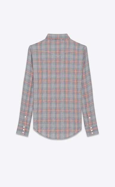 SAINT LAURENT Western Shirts U YSL Nashville Shirt in Raw Grey, Red and Blue Herringbone Plaid Cotton and Tencel b_V4