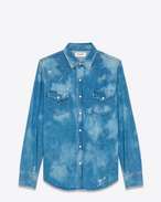 SAINT LAURENT Western Shirts U Repaired Western Shirt in Medium Blue Bleached Denim f