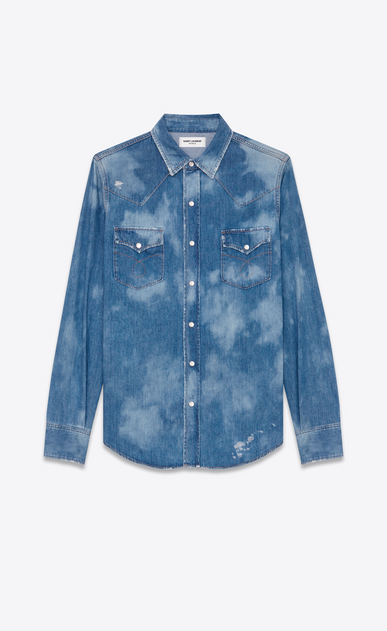 SAINT LAURENT CAMICIA Classic WESTERN U Camicia Repaired Western blu medio in Denim bleached a_V4