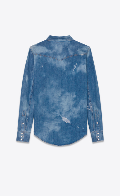SAINT LAURENT CAMICIA Classic WESTERN U Camicia Repaired Western blu medio in Denim bleached b_V4
