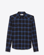 SAINT LAURENT Western Shirts U Western Shirt in Black and Blue Plaid Cotton and Tencel f