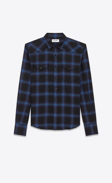 SAINT LAURENT Western Shirts U Western Shirt in Black and Blue Plaid Cotton and Tencel a_V4