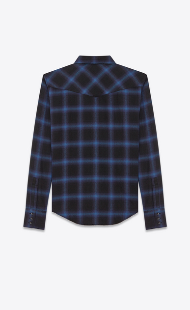 SAINT LAURENT Western Shirts U Western Shirt in Black and Blue Plaid Cotton and Tencel b_V4