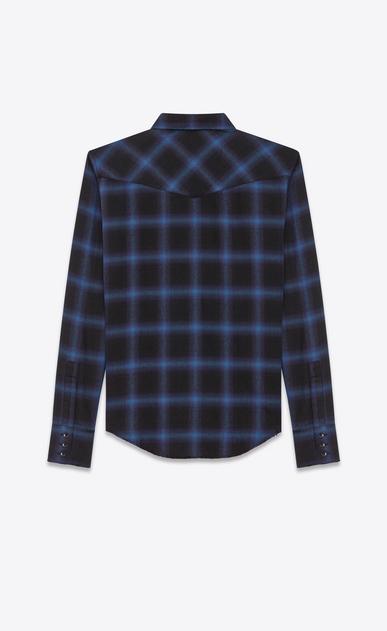 SAINT LAURENT Western Shirts U Western Shirt in Black and Blue Plaid Cotton and Tencel b_V4