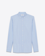 SAINT LAURENT Casual Shirts U Signature YVES Collar Shirt in Sky Blue Cotton Oxford f