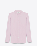SAINT LAURENT Casual Shirts U Signature YVES Collar Shirt in Pale Pink Cotton Oxford f