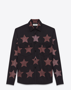 SAINT LAURENT Casual Shirts U Oversized Pointed Pocket Shirt in Black Bleached Star Cotton and Viscose f