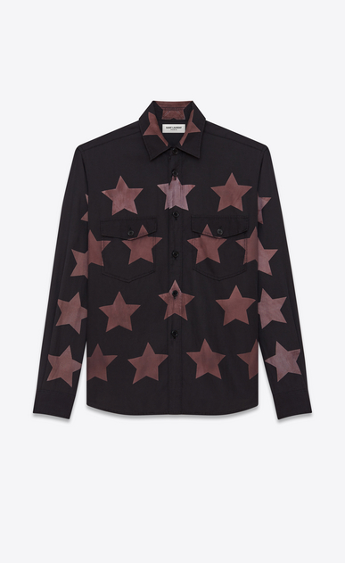 SAINT LAURENT Casual Shirts U Oversized Pointed Pocket Shirt in Black Bleached Star Cotton and Viscose a_V4