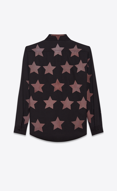 SAINT LAURENT Casual Shirts U Oversized Pointed Pocket Shirt in Black Bleached Star Cotton and Viscose b_V4