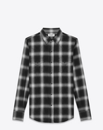 SAINT LAURENT Klassisches Westernhemd U Classic Western Shirt in Black and White Plaid Cotton f