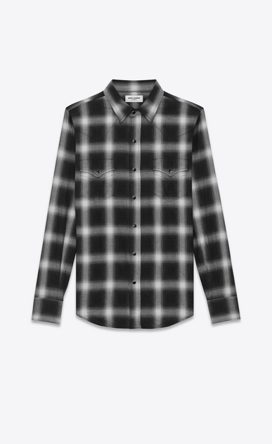 SAINT LAURENT Western Shirts U Classic Western Shirt in Black and White Plaid Cotton a_V4