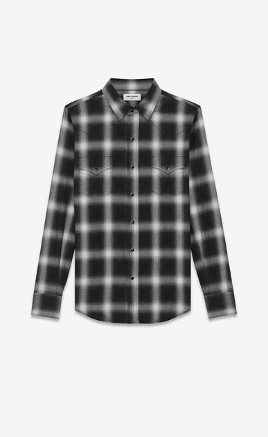 SAINT LAURENT Western Shirts U Classic Western Shirt in Black and White Plaid Cotton a_V4
