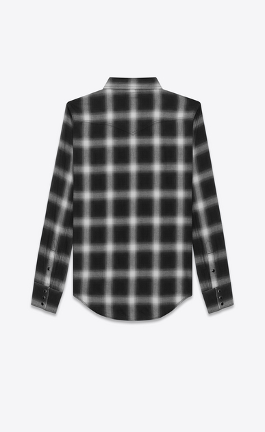 SAINT LAURENT Western Shirts U Classic Western Shirt in Black and White Plaid Cotton b_V4