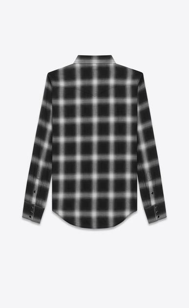 SAINT LAURENT Western Shirts U Classic Western Shirt in Black and White Plaid Cotton b_V4