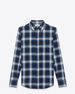 SAINT LAURENT Klassisches Westernhemd U Classic Western Shirt in Blue and Ivory Plaid Cotton f