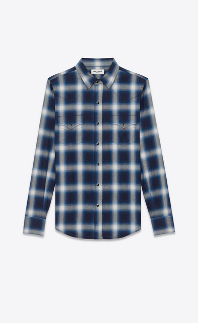 SAINT LAURENT Western Shirts U Classic Western Shirt in Blue and Ivory Plaid Cotton a_V4