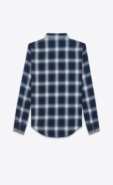 SAINT LAURENT Western Shirts U Classic Western Shirt in Blue and Ivory Plaid Cotton b_V4