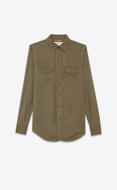 SAINT LAURENT Western Shirts Woman classic western shirt in khaki twill a_V4