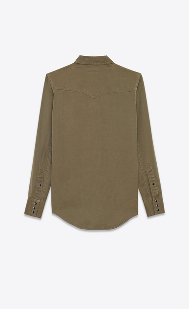 SAINT LAURENT Western Shirts Woman classic western shirt in khaki twill b_V4
