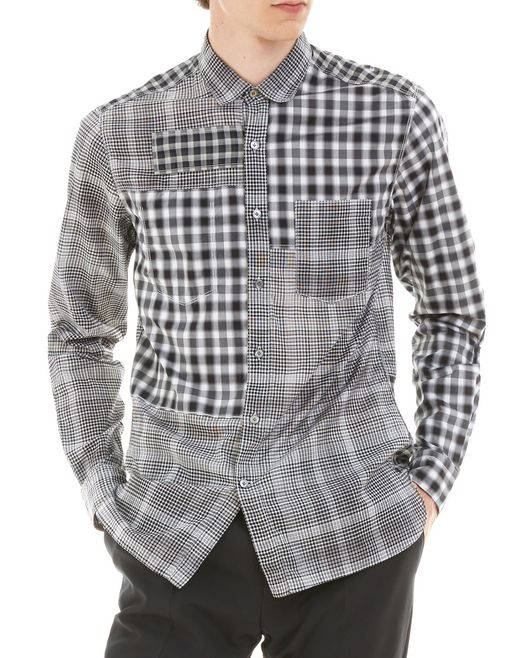 lanvin black checked shirt men