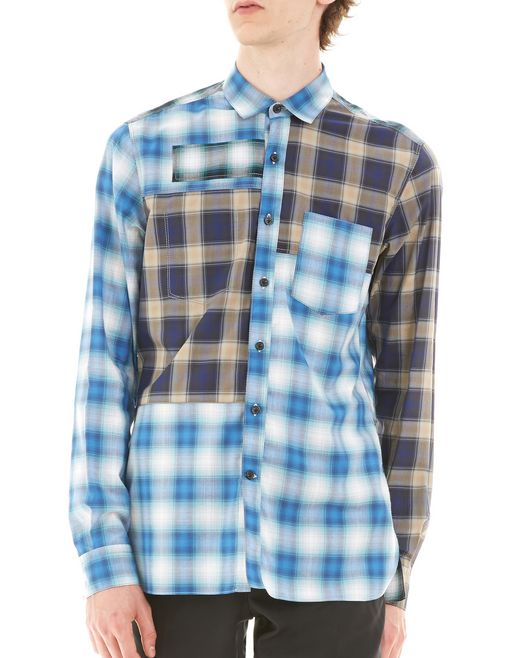 lanvin blue checked shirt men
