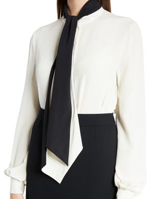 LANVIN SILK CRÊPE DE CHINE BLOUSE Top D r