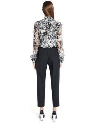 "LANVIN ""PANSIES"" CRÊPE DE CHINE BLOUSE Top D e"