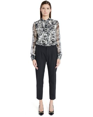 "LANVIN ""PANSIES"" CRÊPE DE CHINE BLOUSE Top D f"