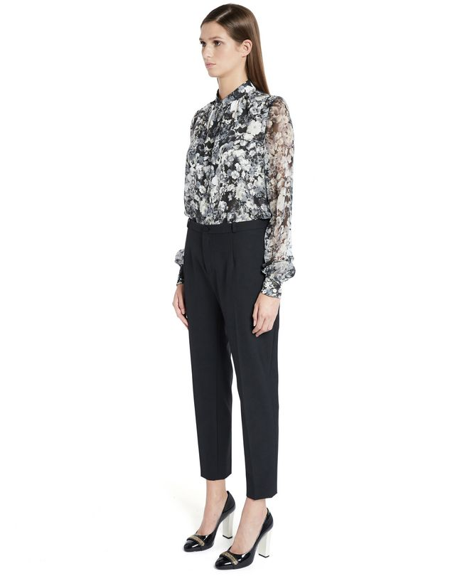 "LANVIN ""PANSIES"" CRÊPE DE CHINE BLOUSE Top D d"