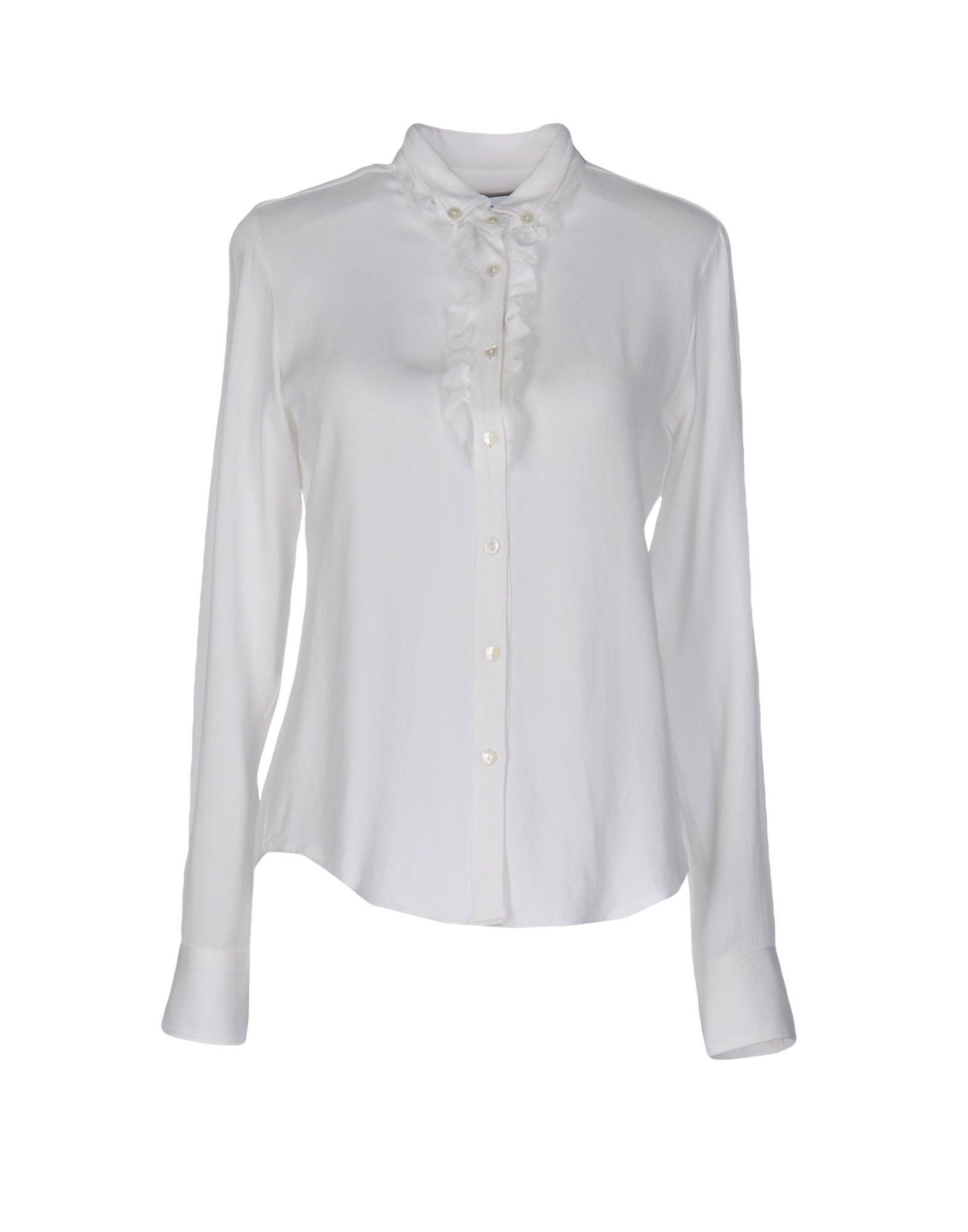《送料無料》MAURO GRIFONI レディース シャツ ホワイト 42 シルク 100%