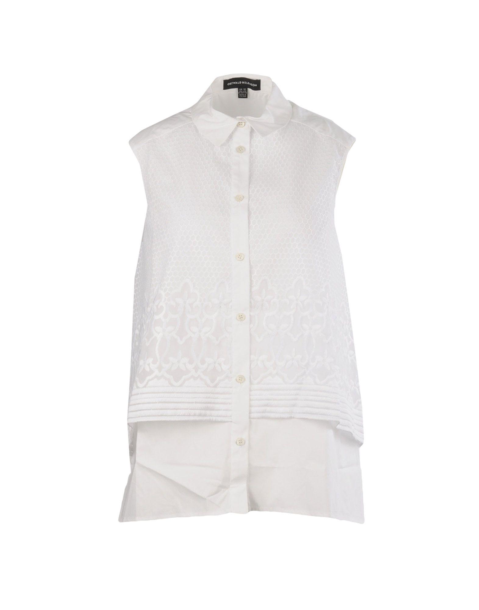 《送料無料》OSTWALD HELGASON レディース シャツ ホワイト 10 コットン 100%